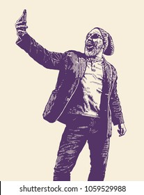 Hipster bearded man takes selfie using a smartphone. Vector illustration.