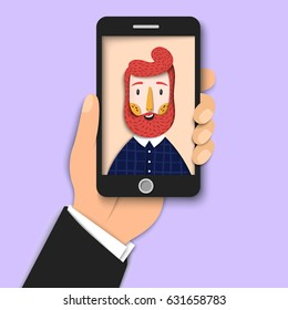 Hipster bearded man takes selfie using a smartphone. Young smiling guy taking self portrait. Close up man hand holding mobile phone. Modern paper art, Vector illustration