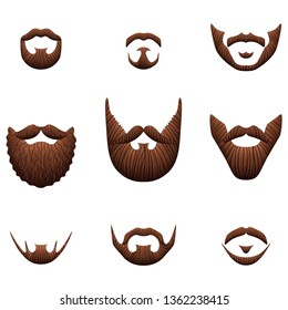 Hipster beards icons detailed photo realistic vector set