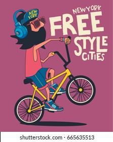 hipster, bicycle vector design