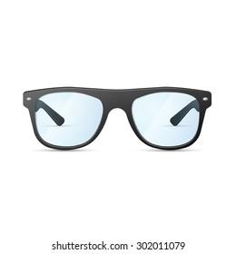 hipster  black glasses on a white background