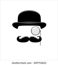 Hipster Black and White. Monocle. Mustaches. Hat.