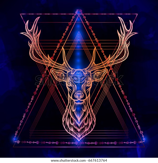 Hipster Boho Chic Deer On Magic Stock Vector (Royalty Free