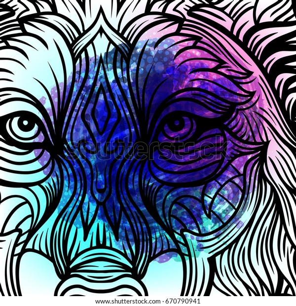 Hipster Boho Chic Wolf On Magic Stock Vector (Royalty Free