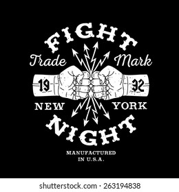 "hipster boxing vintage vector label , badge , logo  "" Fight Night "" for poster, flyer or t-shirt print with fist, lightning and lettering"