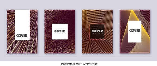 Hipster brochure design template set. Gold abstract lines on bordo background. Amazing brochure design. Imaginative catalog, poster, book template etc.