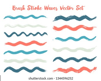 Hipster brush stroke waves vector set. Hand drawn blue red brushstrokes, ink splashes, watercolor splats, hand painted curls. Vector ink traces, color combinations. Textured waves, stripes design.