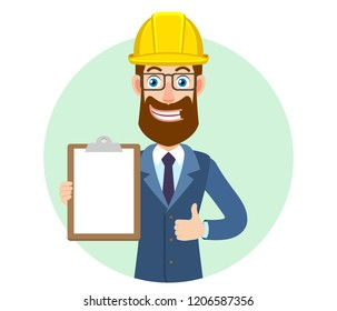 Hipster Businessman in construction helmet holding clipboard and showing thumb up. Portrait of Cartoon Hipster Businessman Character. Vector illustration in a flat style.