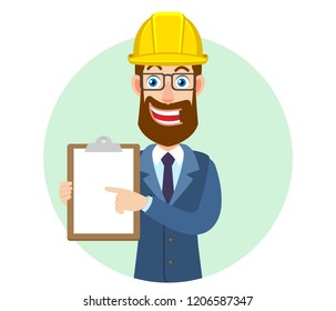 Hipster Businessman in construction helmet pointing at clipboard. Portrait of Cartoon Hipster Businessman Character. Vector illustration in a flat style.