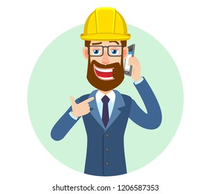 Hipster Businessman in construction helmet pointing his finger at the mobile phone that he talks. Portrait of Cartoon Hipster Businessman Character. Vector illustration in a flat style.