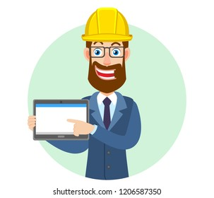 Hipster Businessman in construction helmet using tablet PC. Portrait of Cartoon Hipster Businessman Character. Vector illustration in a flat style.