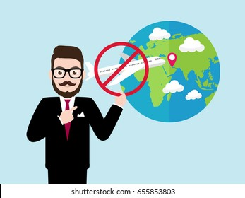 Hipster Businessman with cut off diplomatic relations concept, trade and travel bans, flight canceled