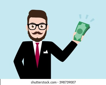Hipster Businessman Holds in Hand Money