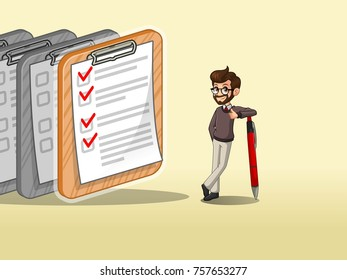 Hipster businessman leaning a pen with completed checklists on paper, against cream background.