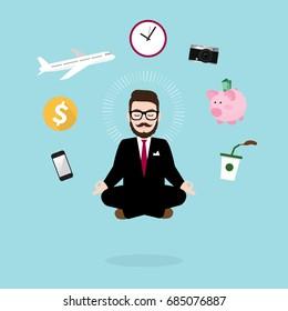Hipster Businessman Meditating in lotus pose