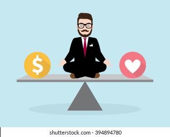 Hipster Businessman Meditation with Business concept Work Life Balance