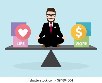 Hipster Businessman Meditation with Business concept Work Life Balance