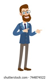 Hipster Businessman pointing something beside of him. Full length portrait of Cartoon Hipster Businessman Character. Vector illustration in a flat style.