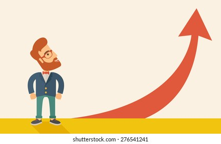 A hipster businessman standing beside the red arrow pointing up. Successful business concept. A Contemporary style with pastel palette, soft beige tinted background. Horizontal layout with text space