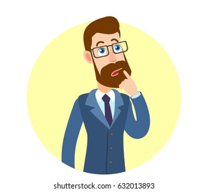 Hipster Businessman and standing with his finger to his lips. Portrait of Cartoon Hipster Businessman Character. Vector illustration in a flat style.