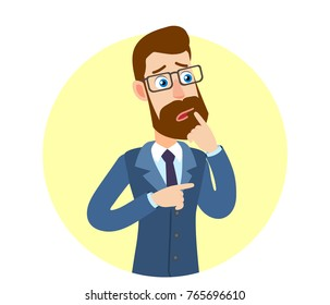 Hipster Businessman standing with his finger to his lips and pointing something beside of him.  Portrait of Cartoon Hipster Businessman Character. Vector illustration in a flat style.