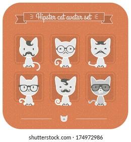 Hipster cat avatar set.
