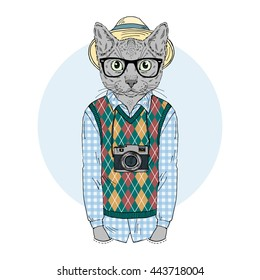 hipster cat boy with photo camera, furry art illustration, fashion animals