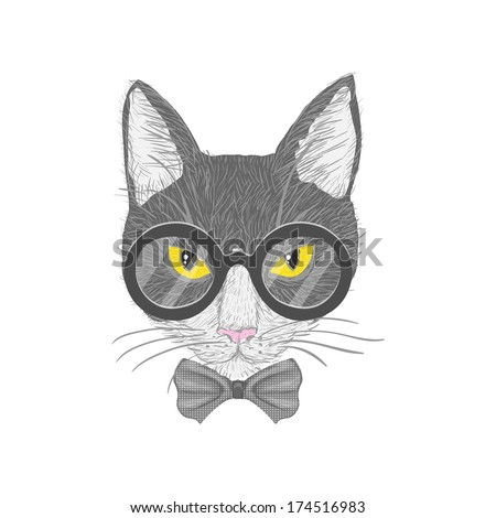 0a6bbcd53efa Hipster cat with glasses bow and yellow eyes isolated vector illustration
