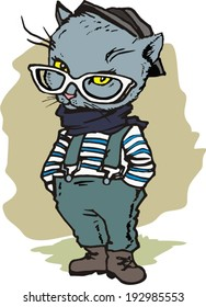 hipster cat with glasses and a hat