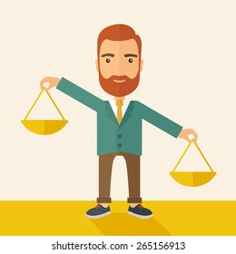 A hipster Caucasian businessman with beard carrying a balance scale with both hands weighing want and need. Balancing and priorization concept.  A contemporary style with pastel palette, beige tinted