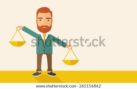 A hipster Caucasian businessman with beard carrying a balance scale with both hands weighing want and need. Balancing and prioritization concept.  A contemporary style with pastel palette, beige tinted