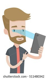 Hipster caucasian man with beard using smart mobile phone with iris scanner. Young happy man using iris scanner to unlock his mobile phone. Vector flat design illustration isolated on white background