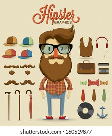 Hipster character design with hipster elements and icons.Vector illustration