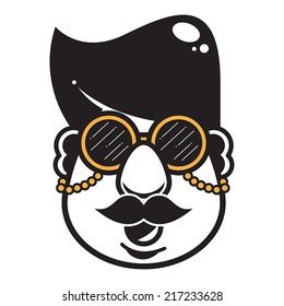 A hipster character head with glasses and moustache