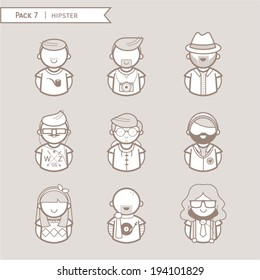 Hipster character illustration color brown.