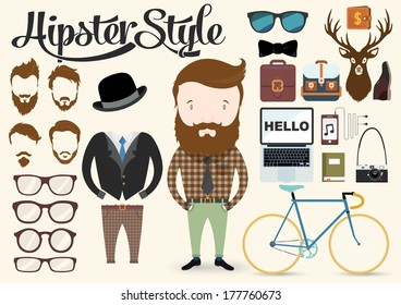 Hipster character illustration in info graphic concept background with elements and icons