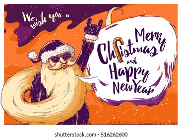 Hipster Christmas card or invitation flyer with Santa Claus. Vector Illustration