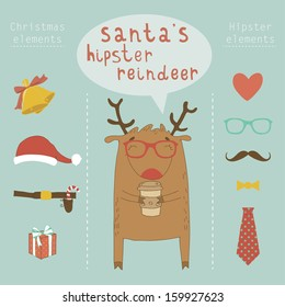 Hipster and Christmas character, vector illustration with hipster and christmas elements and icons