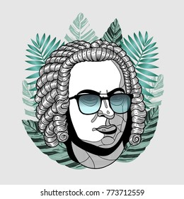 Hipster classical portrait of composer and musician with glasses. Summer style - palm leaf. T-Shirt Design & Printing, clothes, beachwear. Vector illustration hand drawn. Johann Sebastian Bach