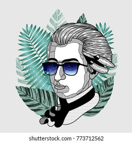 Hipster classical portrait of composer and musician with glasses. Summer style - palm leaf. T-Shirt Design & Printing, clothes, beachwear. Vector illustration hand drawn. Wolfgang Amadeus Mozart