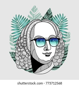 Hipster classical portrait of composer and musician with glasses. Summer style - palm leaf. T-Shirt Design & Printing, clothes, beachwear. Vector illustration hand drawn. Antonio Lucio Vivaldi