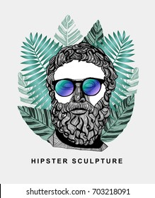 Hipster classical Sculpture. Philosopher with glasses. Summer style - palm leaf. T-Shirt Design & Printing, clothes, beachwear. Vector illustration hand drawn.