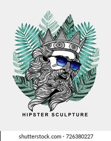 Hipster classical Sculpture. Poseidon with glasses. Summer style - palm leaf. T-Shirt Design & Printing, clothes, beachwear. Vector illustration hand drawn.