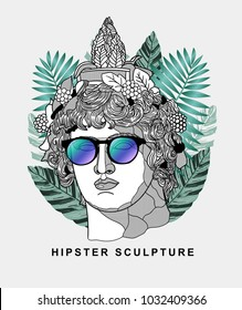 Hipster classical Sculpture. Summer style - palm leaf. T-Shirt Design & Printing, clothes, beachwear. Vector illustration hand drawn. Dionysus or Bacchus.
