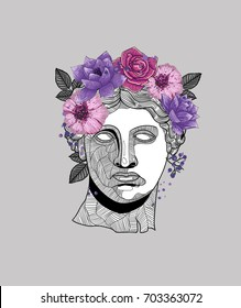 Hipster classical Sculpture. Venus (APHRODITE) with flowers. T-Shirt Design & Printing, clothes, beachwear. Vector illustration hand drawn.