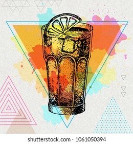 Hipster cocktail long island illustration on artistic polygon watercolor background