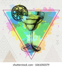 Hipster cocktail margarita illustration on artistic polygon watercolor background