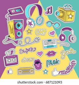 Hipster collage in cartoon style. Templates elements of text, headphone, music and style. Vector illustration.