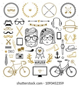 Hipster collection illustrations set. Hand drawn hipster lifestyle objects and symbols. Vintage sketch doodles and decoration graphics