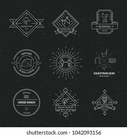 Hipster collection of logotypes with different horse and equine industry symbols. Labels for horseriding school or equestrian supplies shop. Vector line art.